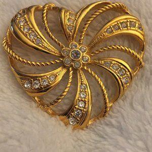 Vintage Gold Tone Rhinestone Avon Heart Brooch
